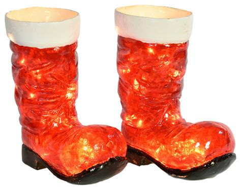 illuminated santa boot pair outdoor holiday decorations