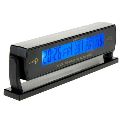 12v digital car voltage monitor battery alarm clock lcd temperature thermometer ebay