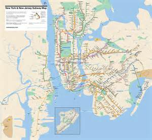 New York New Jersey Map by New York Amp New Jersey Subway Map
