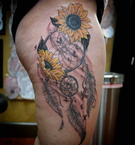 small native tattoos sunflowers and catcher venice