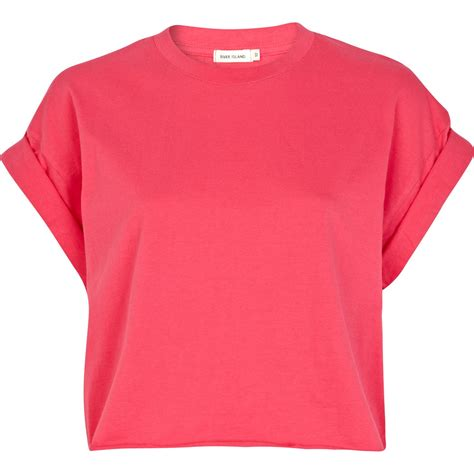 Sleeve Cropped T Shirt river island pink sleeve boxy cropped t shirt in