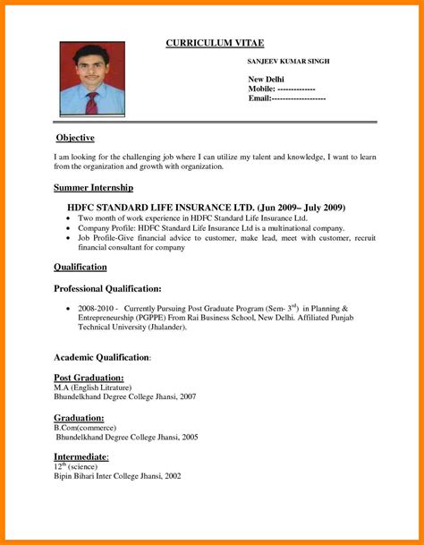 curriculum vitae format for application pdf cv format pdf