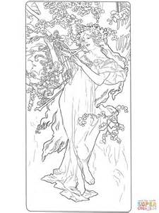 painting pages by alphonse mucha coloring page free printable