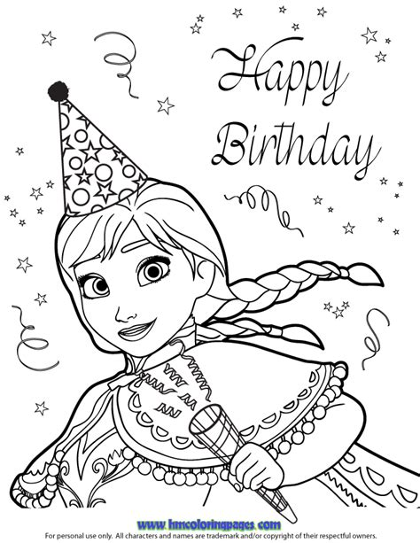 frozen coloring pages happy birthday free coloring pages of frozen birthday card