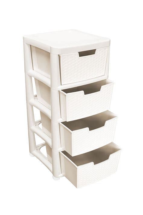 Plastic Storage Drawers Big W by Ehc Large 4 Drawer Tower Plastic Rattan Style Plastic