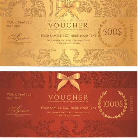templates for vouchers design exquisite vouchers template design vector set free vector