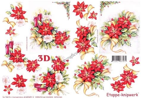 Decoupage Flowers - poinsettia flowers with candles ribbons 3d