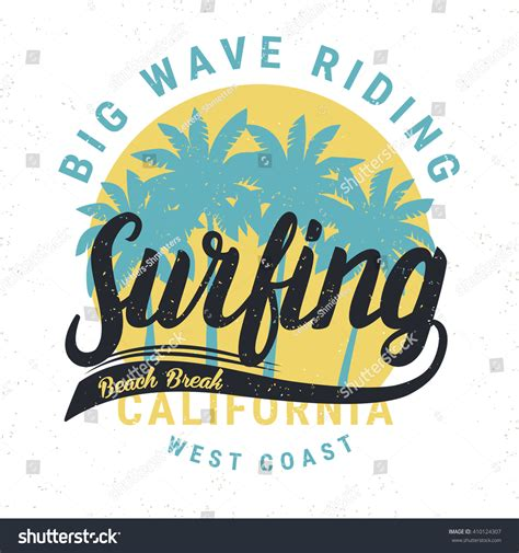 pattern surf graphic t shirt vintage retro surfing tee print palms stock vector