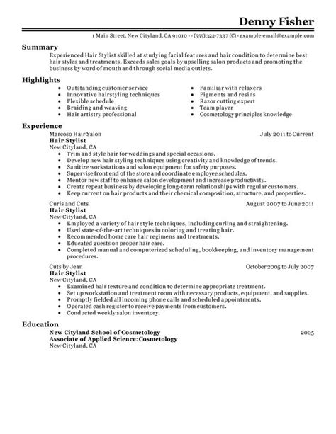 Resume For Hairstylist by Hair Stylist Resume Exles Free To Try Today