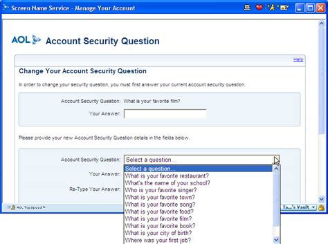 how do i change my security question on aol ask dave