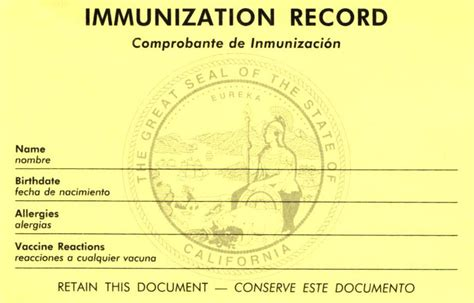 immunization record card template clinic visit information