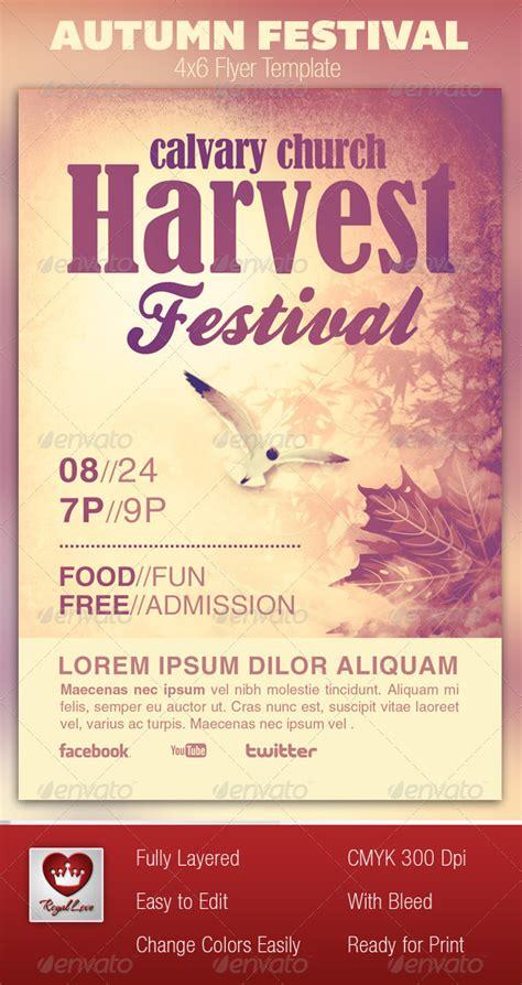autumn festival church flyer template by royallove
