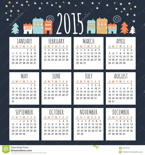 Basic House Plans Free calendar 2015 with cute winter houses illustration stock