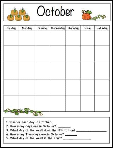 printable calendar elementary october learning calendar template for kids free