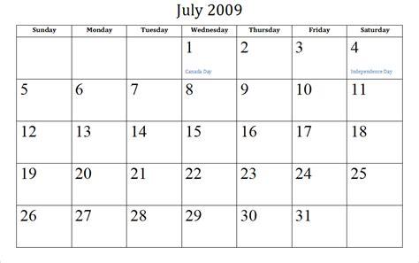 July Calendar July Holidays