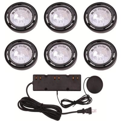 home depot cabinet lights hton bay 6 light xenon black cabinet puck light