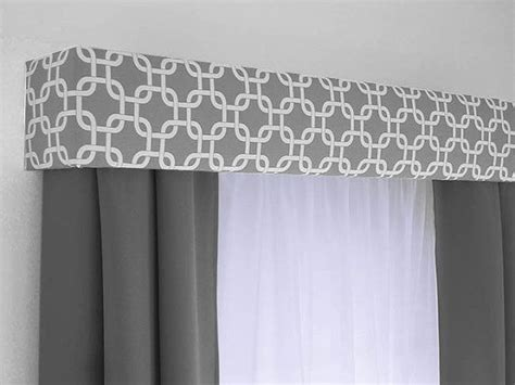 curtain topper gray geometric cornice board valance window treatment