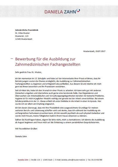 Bewerbungsschreiben Zfa bewerbungsmuster zahnmedizinische r fachangestellte r