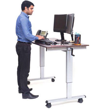 standing desk walmart luxor 59 quot w crank adjustable stand up desk walnut