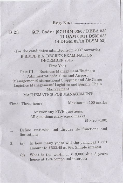 Mathematics For Management Mba by Question Bank Bharathiar Distance Education
