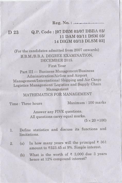 Mba Shipping And Logistics Bharathiar by Question Bank Bharathiar Distance Education