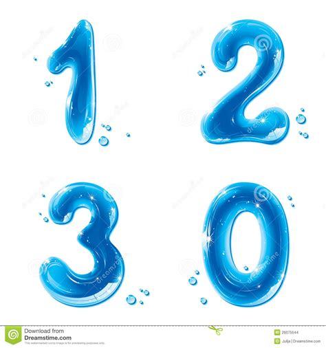 one east blue 1 2 3 abc series water liquid numbers 1 2 3 0 stock vector