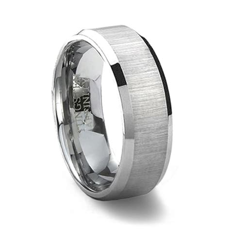 horizontally brushed finish tungsten carbide wedding band