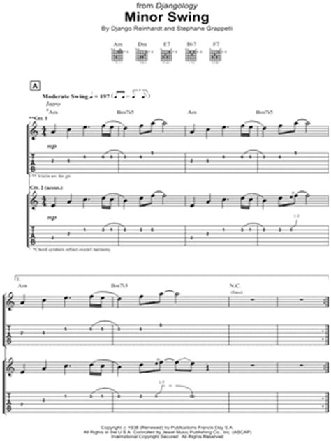 minor swing django reinhardt tab stephane grappelli sheet downloads at musicnotes