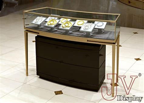 Jewelry display counter black metal wooden glass for sale