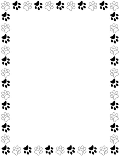 printable animal borders black and white paw print border projects to try