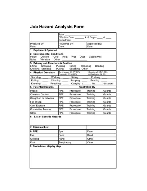 safety assessment template hazard analysis form analysis forms