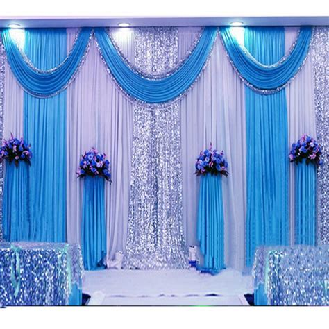 3*6m sequin wedding backdrop curtain with swag backdrop