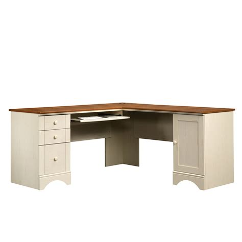 Sauder Harbor View Corner Computer Desk Antiqued White by Antique White Computer Desk