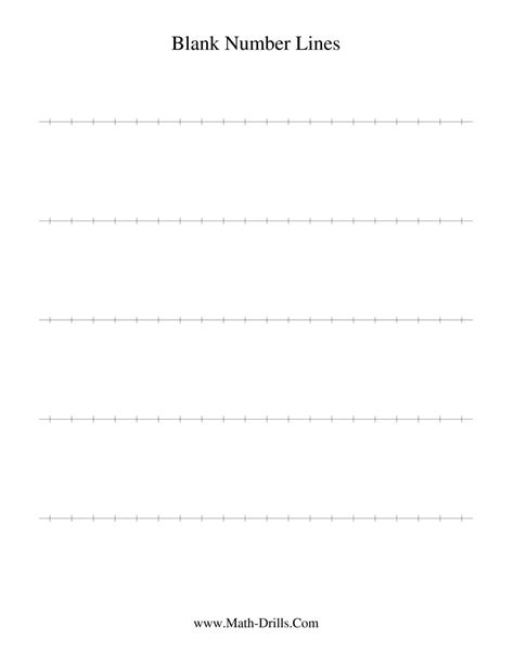 printable integer number line template printable blank number line worksheet