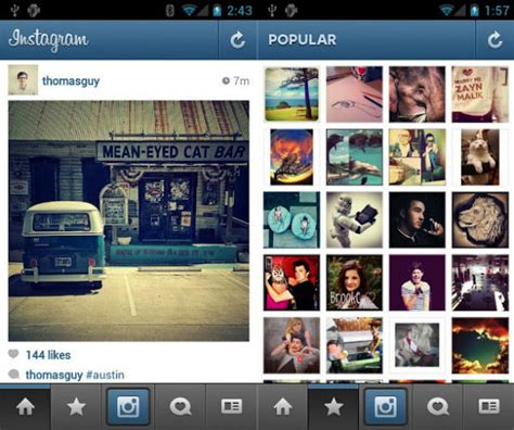 instagram for android tablet instagram updated for nexus 7 use flickr support also added