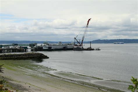 ferry edmonds crane at edmonds ferry dock performing maintenance work
