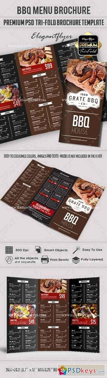 Bbq Menu Premium Tri Fold Psd Brochure Template Food Menu 187 Free Download Photoshop Vector Tri Fold Menu Template Photoshop