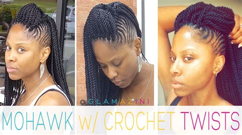 mohawk braid with senegalese twist cornrow mohawk w crochet senegalese twists video