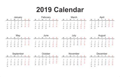 Printable Calendar 2019 Yearly Calendar Download 2019 Printable Calendar Templates Free Free Calendar Template 2019