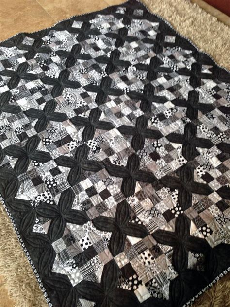 black and white quilts large throw size black and white quilt made using tuxedo collection charm packs and