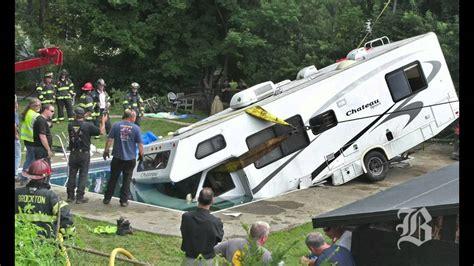 boat crash winnebago brockton man crashes motor home into pool youtube