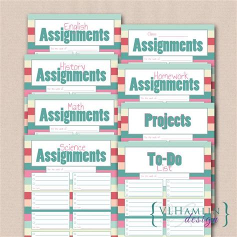 Study Planner Stripes help your student better organize assignments with our sweet summer stripes printable