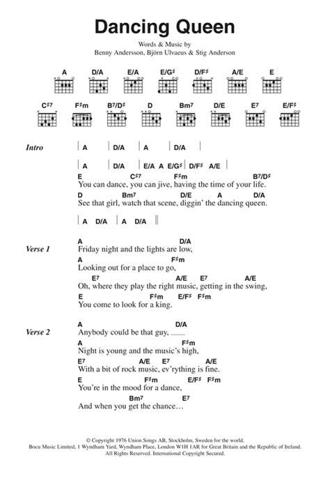 printable lyrics dancing queen abba dancing queen sheet music by abba lyrics chords 44870