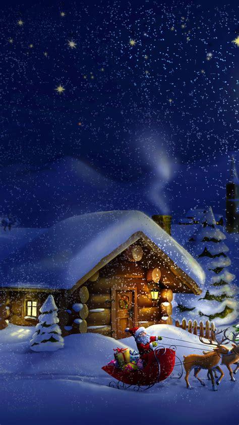 wallpaper christmas  year santa deer moon night