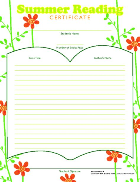 summer reading color award certificate template