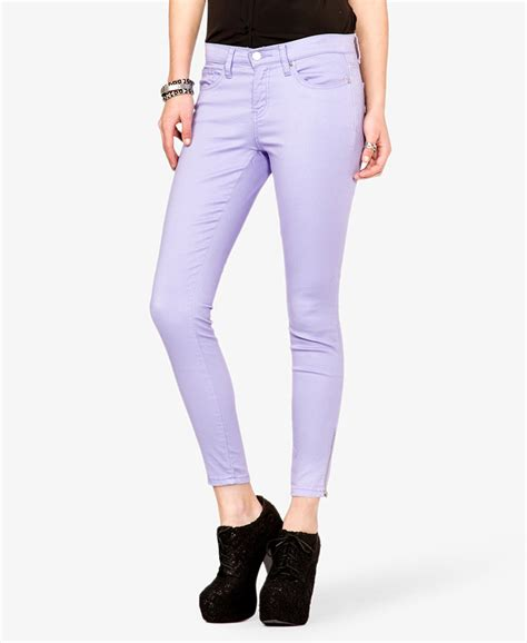 8 Pairs Of Colored Denim For by Lyst Forever 21 Colored Zippered In Purple
