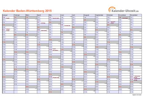 Feiertage Kalender 2015 Feiertage 2015 Baden W 252 Rttemberg Kalender