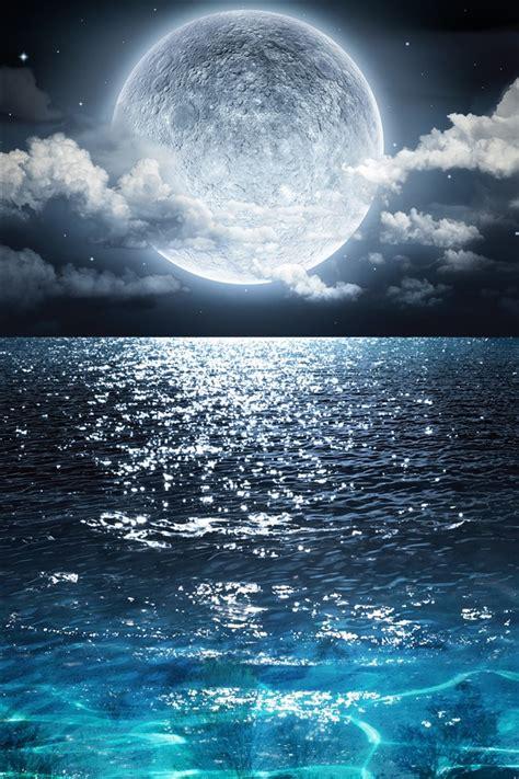 full moon blue sea clouds night beautiful nature