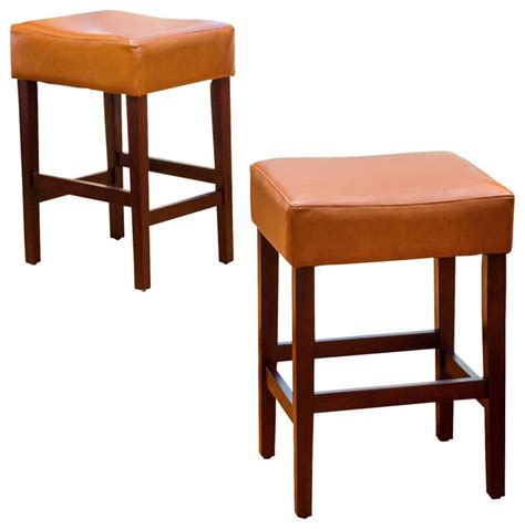 Leather Backless Bar Stools by Malachi Leather Backless Counter Stools Set Of 2