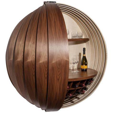 Contemporary Walnut Drinks Cabinet or Dry Bar, Wall